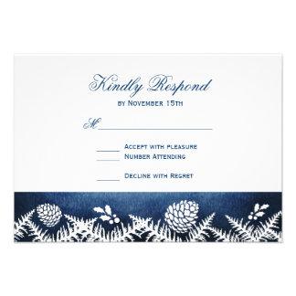 Winter Pine Cones Holiday Blue Wedding RSVP Cards