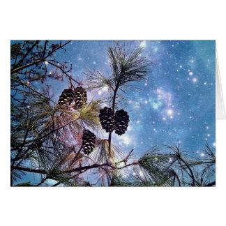 Winter Pine Cones under a starry night sky Card