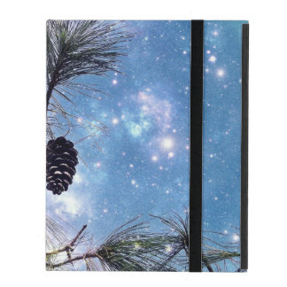 Winter Pine Cones under a starry night sky iPad Cover
