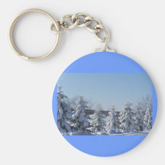 winter pine fence basic round button key ring