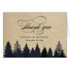 Winter Pine Trees Forest Script Kraft Thank You Card