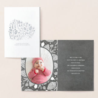 Winter Pines Christmas | Holiday Photo Foil Card