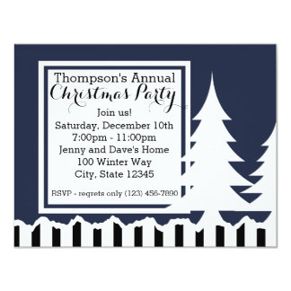 Winter Pines Holiday Party 4.25x5.5 Paper Invitation Card