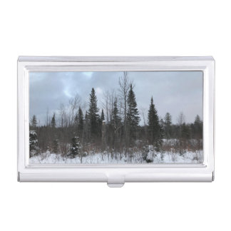 Winter Pines Landscape Card Case Holder