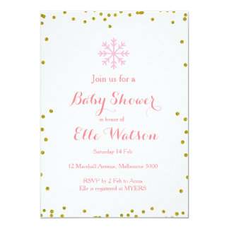Winter Pink Gold Baby Shower Invitation