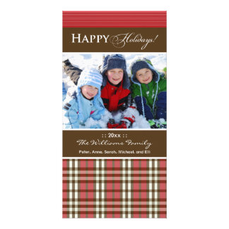 Winter Plaid Family Holiday Photocard_2 (red) Personalised Photo Card