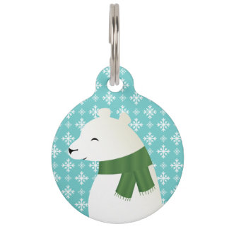 Winter Polar Bear Illustration With Pet's Info Pet Name Tag