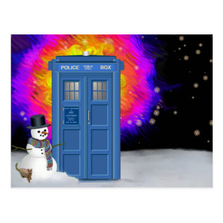 winter police box with snowman postcard