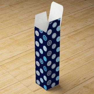 Winter Polka Dot Blue Wine Gift Box