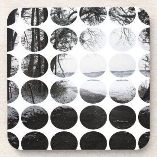 Winter Polka Dots Forest Archway Drink Coaster