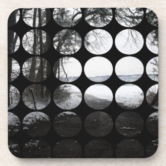 Winter Polka Dots Forest Archway Drink Coasters