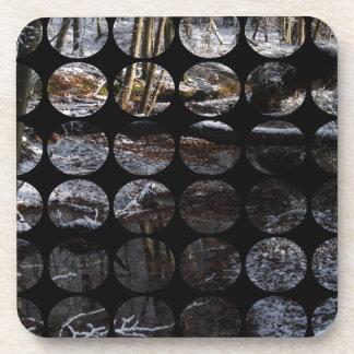 Winter Polka Dots Forest Brook Drink Coaster