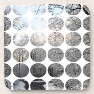 Winter Polka Dots Forest Crossroads Coaster