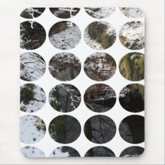 Winter Polka Dots Forest Reflection Mousepad