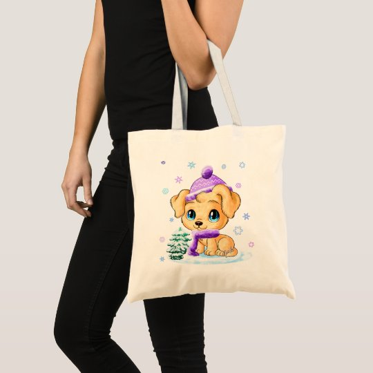Winter Puppy Tote Bag by Featured Designer Mei Yu