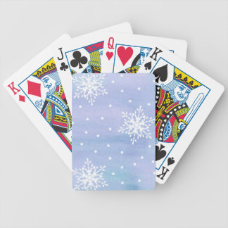 Winter Purple Blue Sky White Snowflakes Polka Dots Bicycle Playing Cards