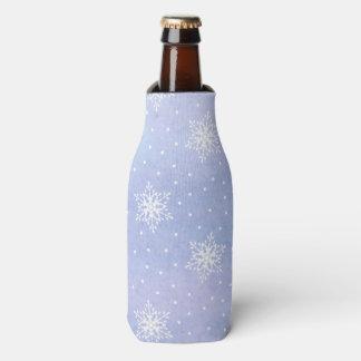 Winter Purple Blue Sky White Snowflakes Polka Dots Bottle Cooler