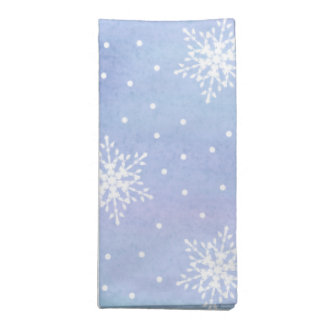 Winter Purple Blue Sky White Snowflakes Polka Dots Cloth Napkin