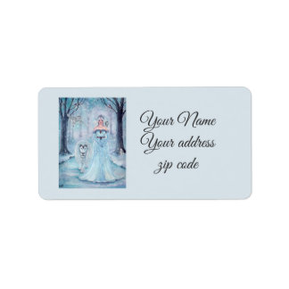 Winter queen and lion address labels by Renee
