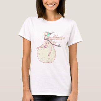 Winter rabbit and snow ball T-Shirt
