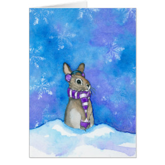 Winter Rabbit Snowflakes by Bihrle Card