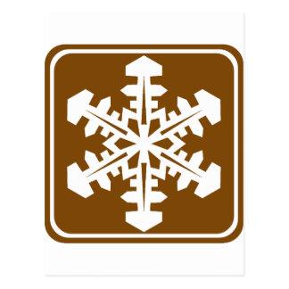 Winter Recreation Highway Sign Postcard