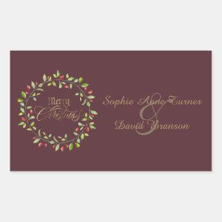 Winter Red Berries Wreath Gold Merry Christmas Rectangular Sticker
