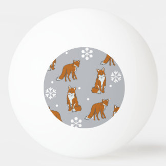Winter Red Foxes Pattern Ping Pong Ball