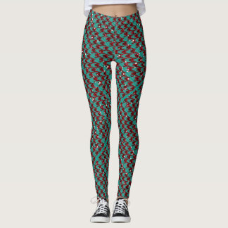 Winter Red Sparkle Houndstooth Leggings