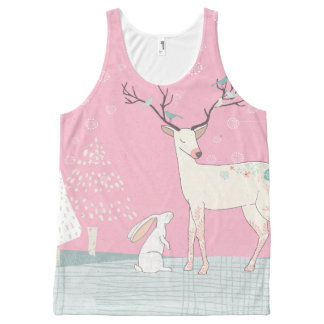 Winter Reindeer and Bunny in Falling Snow All-Over Print Tank Top