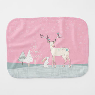 Winter Reindeer and Bunny in Falling Snow Burp Cloth