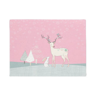 Winter Reindeer and Bunny in Falling Snow Doormat