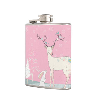 Winter Reindeer and Bunny in Falling Snow Hip Flask