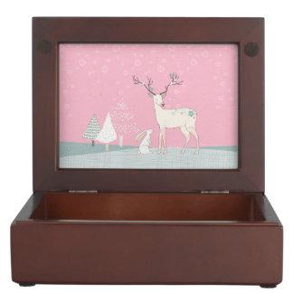 Winter Reindeer and Bunny in Falling Snow Keepsake Box