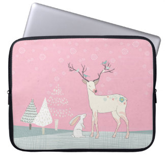 Winter Reindeer and Bunny in Falling Snow Laptop Sleeve