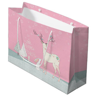 Winter Reindeer and Bunny in Falling Snow Large Gift Bag