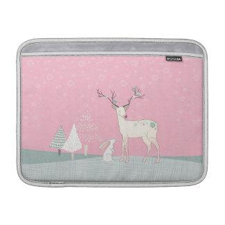 Winter Reindeer and Bunny in Falling Snow MacBook Sleeve