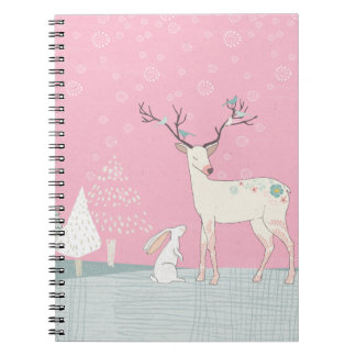 Winter Reindeer and Bunny in Falling Snow Notebook