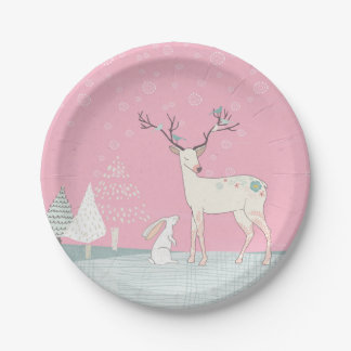 Winter Reindeer and Bunny in Falling Snow Paper Plate