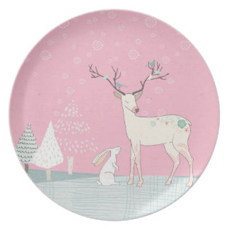 Winter Reindeer and Bunny in Falling Snow Plate