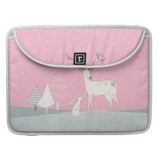 Winter Reindeer and Bunny in Falling Snow Sleeve For MacBook Pro