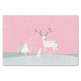 Winter Reindeer and Bunny in Falling Snow Tissue Paper