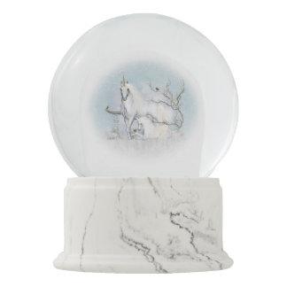 Winter Robins and Unicorns Snow Globe