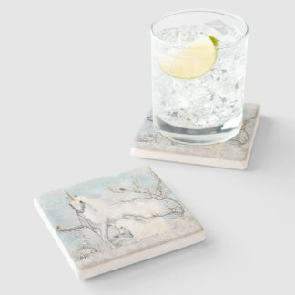 Winter Robins and Unicorns Stone Coaster