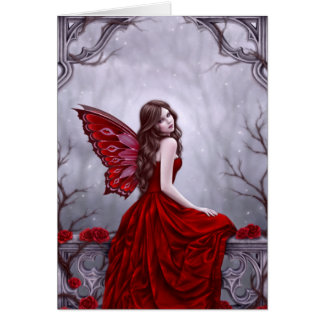 Winter Rose Fairy Art Greeting Card