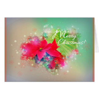 Winter rose more flower, poinsettia. Merry Card