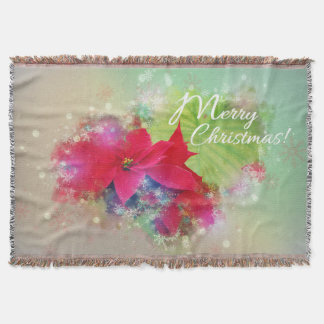 Winter rose more flower, poinsettia. Merry Throw Blanket