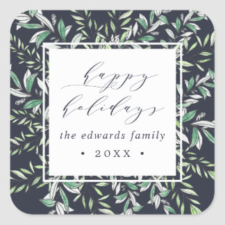 Winter Sage | Personalized Holiday Square Sticker