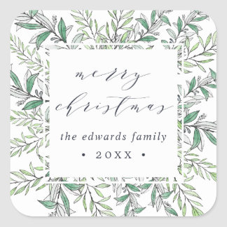 Winter Sage | Personalized Merry Christmas Square Sticker