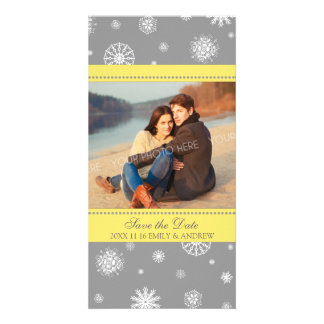 Winter Save the Date Wedding Photo Card Grey